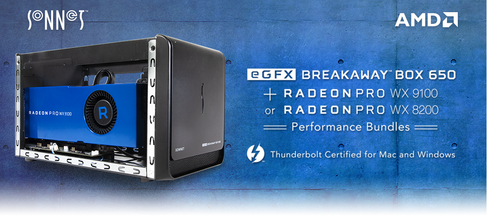 Sonnet Breakaway Box Bundles with AMD Radeon PRO WX9100 and WX8200